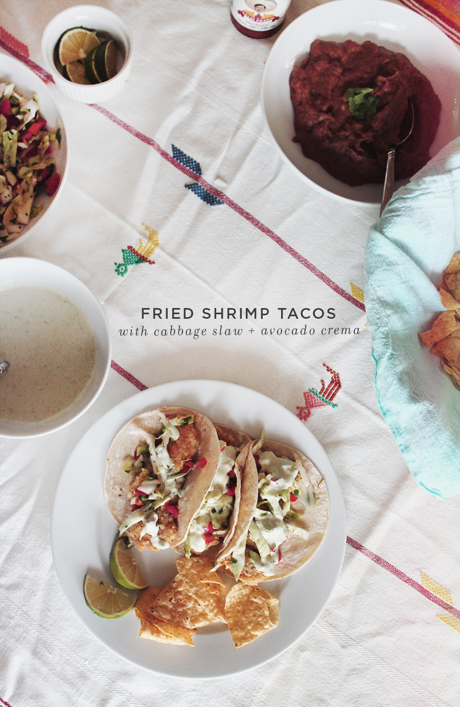 fried shrimp tacos with cabbage slaw | via almost makes perfect