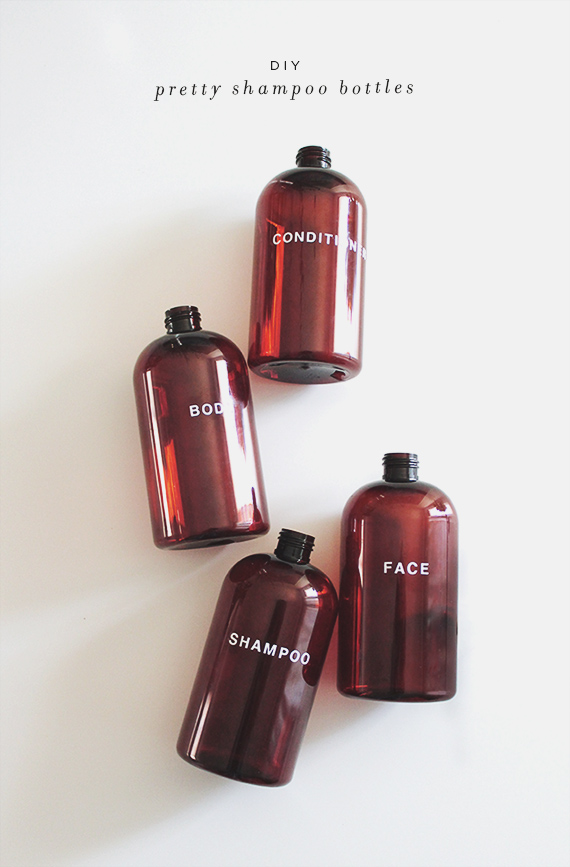 diy pretty shampoo bottles via almost makes perfect