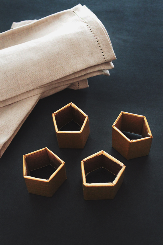 diy gold geo napkin rings
