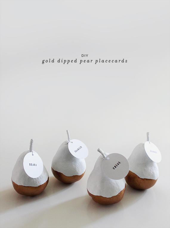 diy gold dipped pear placecards diy