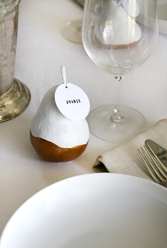 gold dipped pear placecards