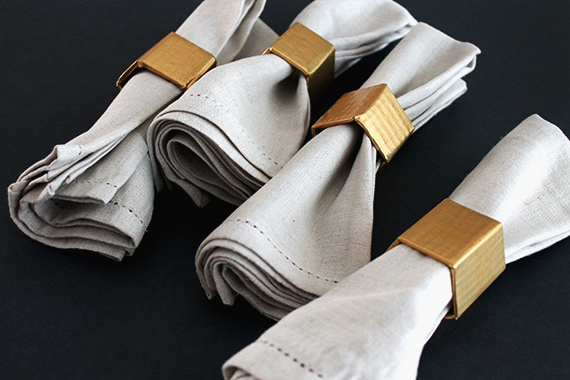 gold geo napkin rings diy