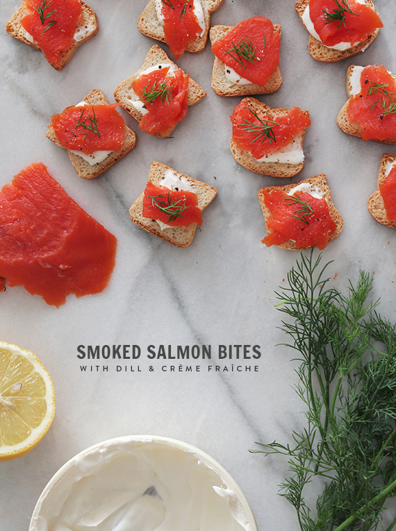 smoked salmon bites with creme fraiche // almost makes perfect