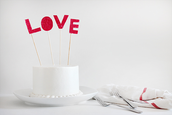 DIY fringed cake topper