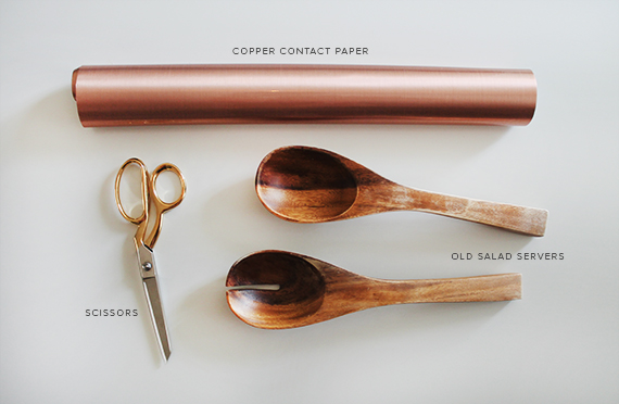 copper contact paper salad servers
