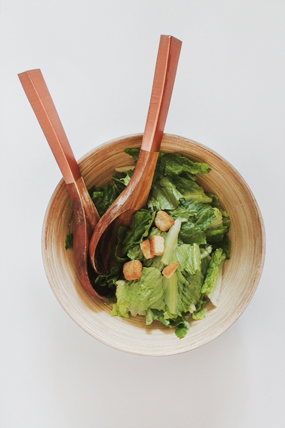 diy copper contact paper salad servers