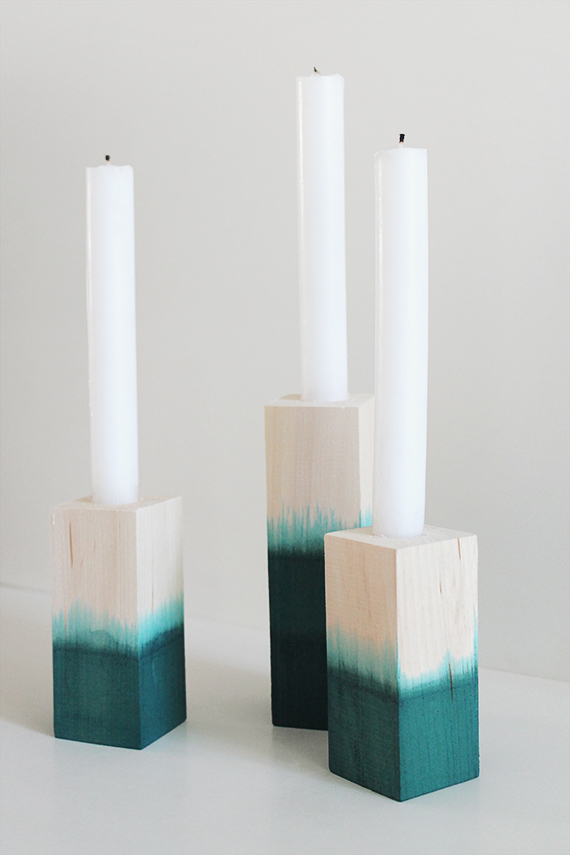 diy dip dyed candlesticks