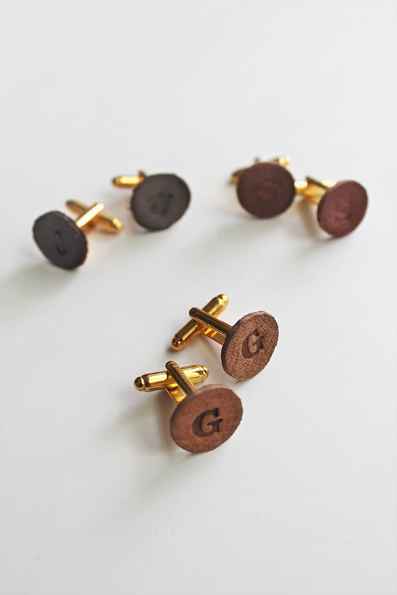 diy leather cufflinks