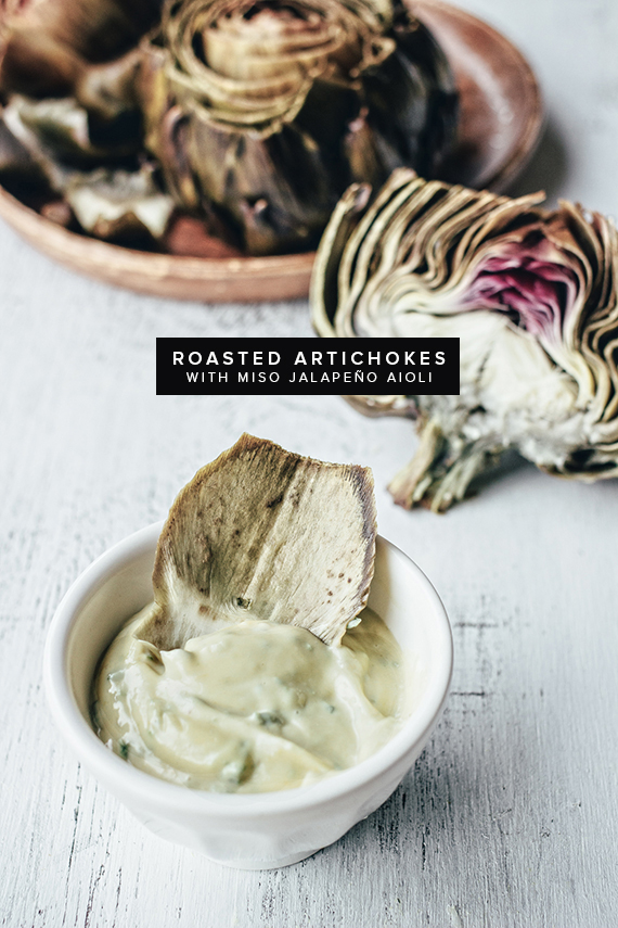 roasted artichokes with miso jalapeno aioli | almost makes perfect