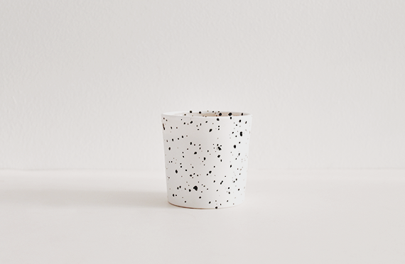 diy faux speckled candle