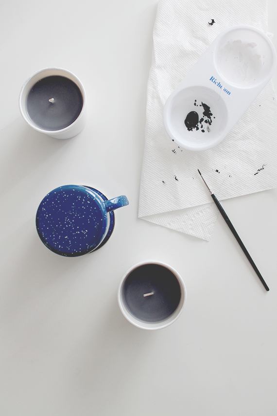 diy faux speckled candles