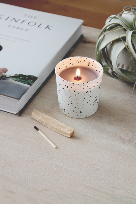 diy faux speckled candles | almost makes perfect