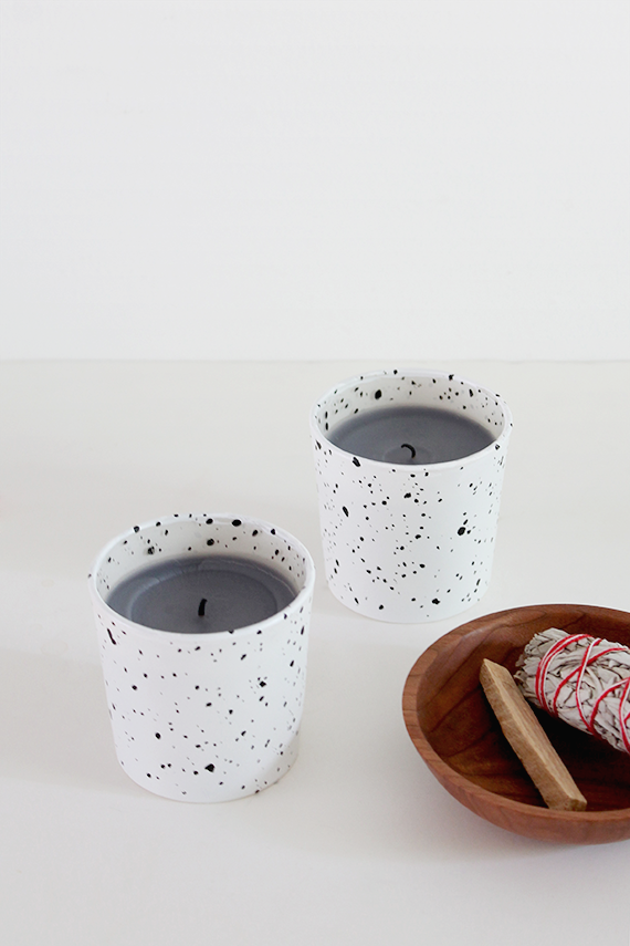 diy faux speckled candles   almost makes perfect