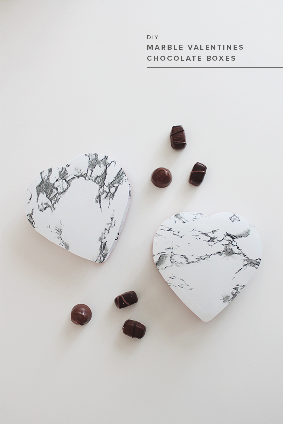 diy marble valentines chocolate boxes | almost makes perfect