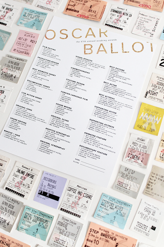 printable oscar ballot | almost makes perfect