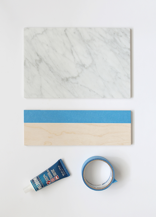 diy marble and wood serving platter | almost makes perfect