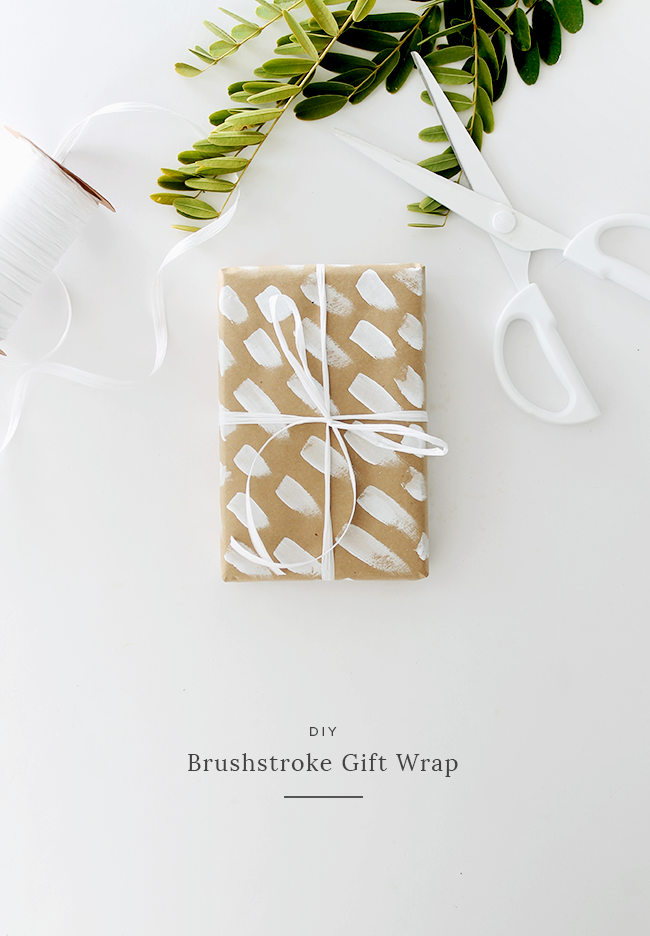 diy brush stroke gift wrap | almost makes perfect