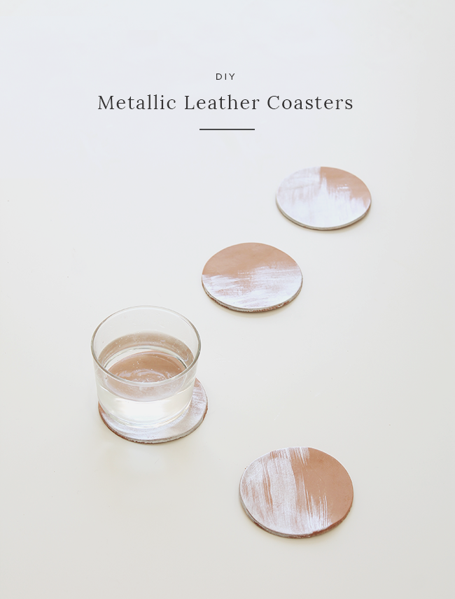 DIY metallic leather coasters | almost makes perfect